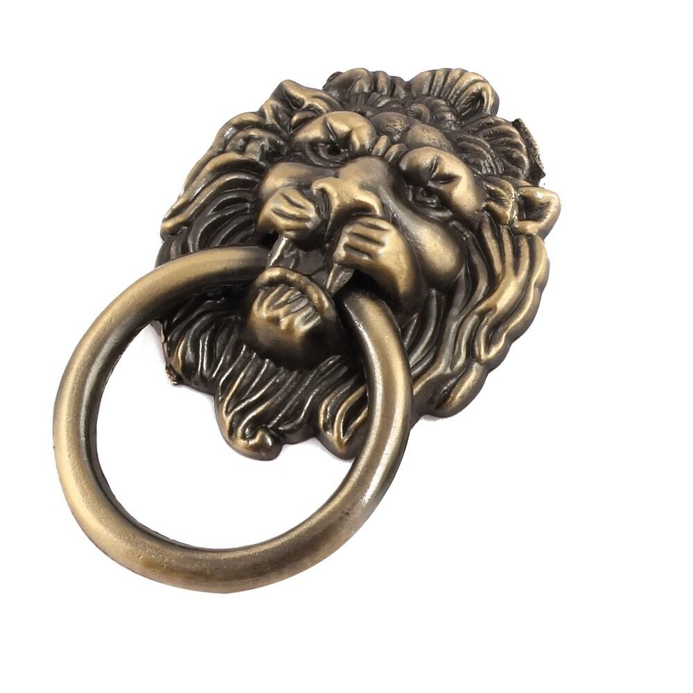 Metal Lion Head Design Vintage Style Furniture Closet Pull Handle - Bronze Tone,Dark Gray (Bronze Tone,Dark Gray)