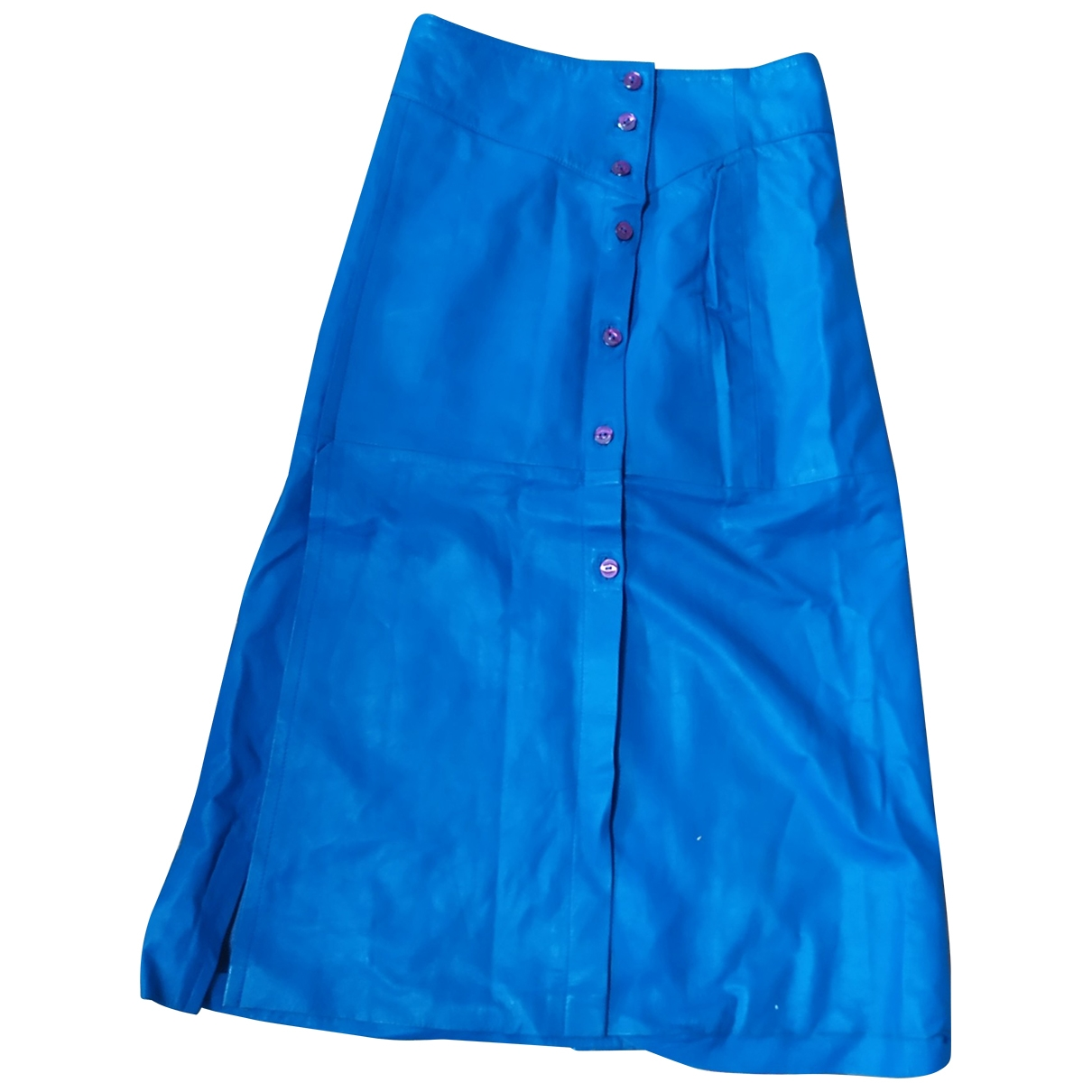 Non Signé / Unsigned \N Turquoise Leather skirt for Women 42 IT