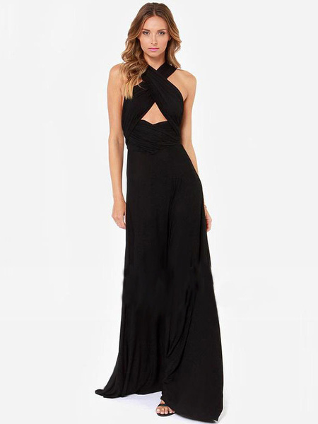 Milanoo Vestido largo Color borgoña Moda Mujer sin mangas de punto de roma Vestidos asimetrica asimetrica Primavera