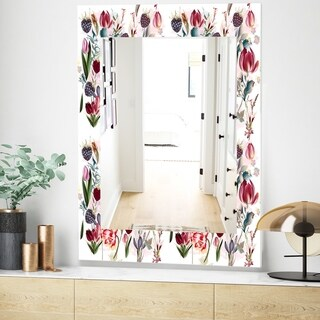 Designart 'Pink Blossom 14' Traditional Mirror - Wall Mirror (23.7 in. wide x 31.5 in. high)