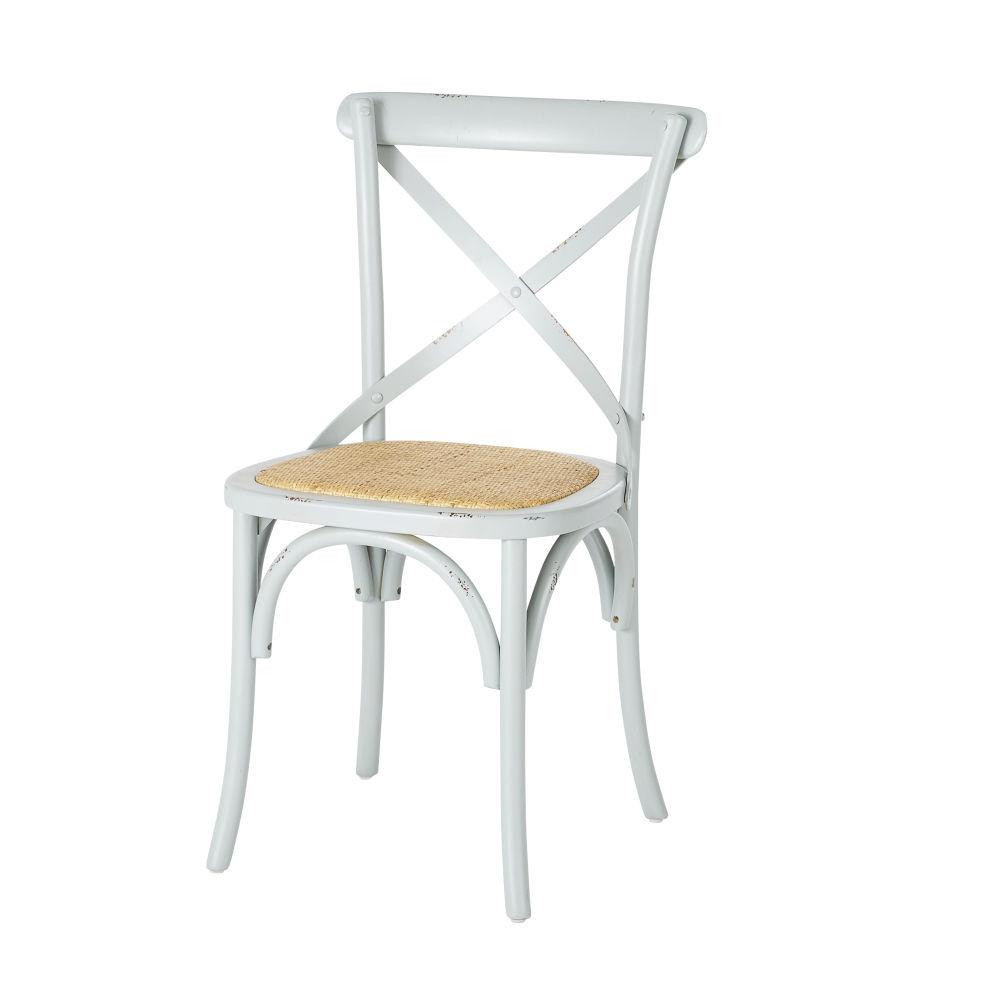 Stuhl aus graugruen gebeiztem Birkenholz und Rattan Tradition