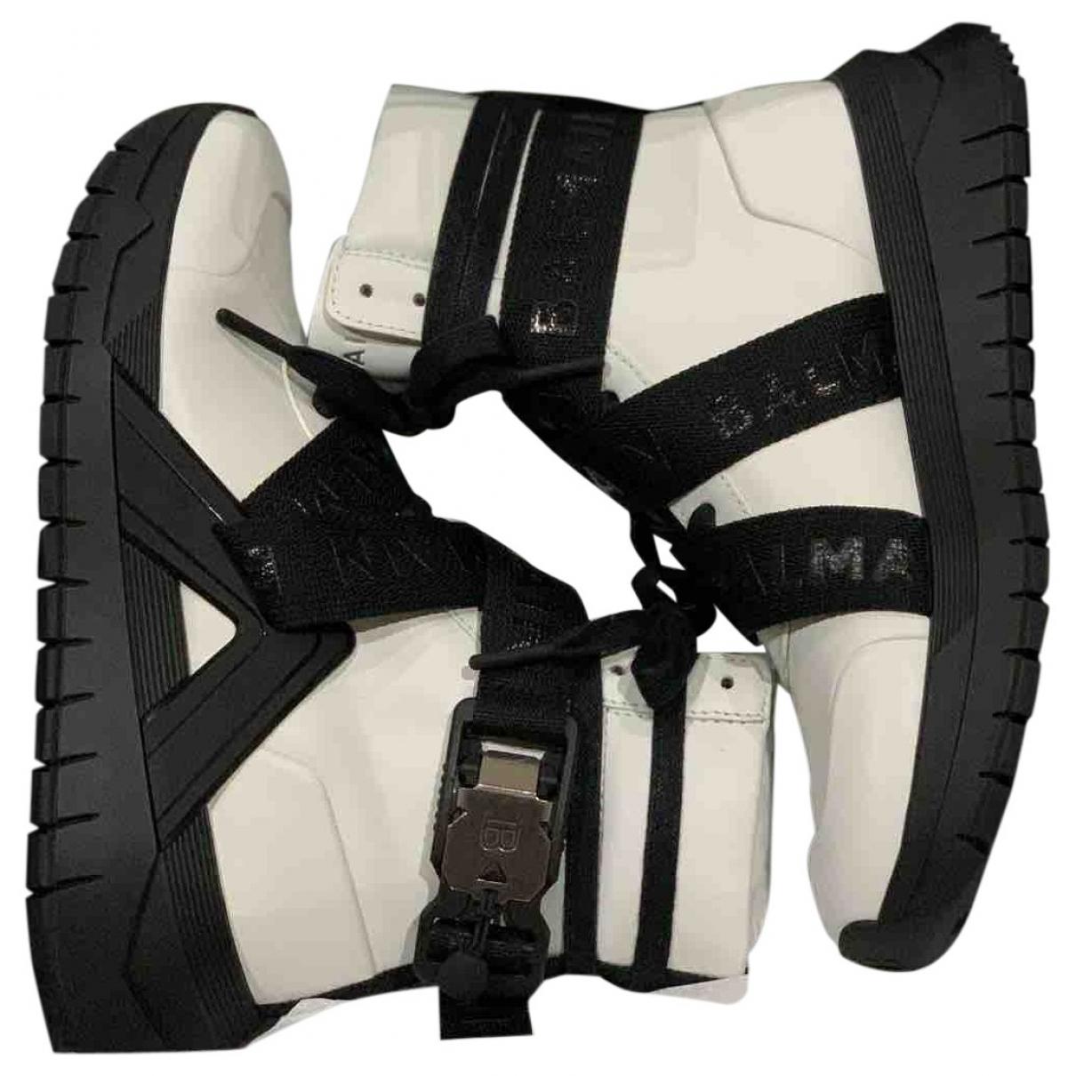 Balmain \N White Leather Ankle boots for Women 37 EU