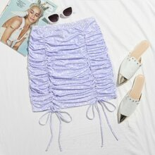 Drawstring Ruched Star Print Skirt