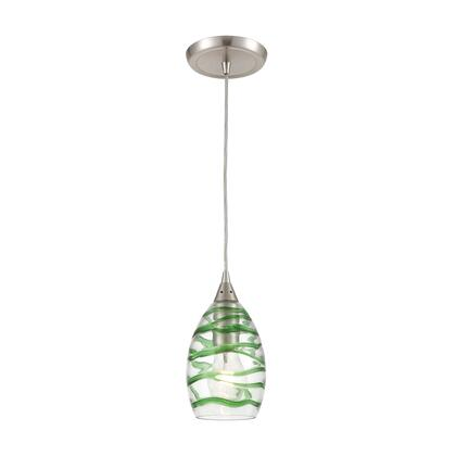 31762/1 Vines 1-Light Mini Pendant in Satin Nickel with Clear Glass with Emerald Green