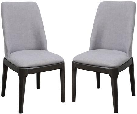 Madan Collection 73172 Set of 2 Side Chairs with Foam Filled Cushion  High Backrest  Tapered Legs  Linen Upholstery and Hickory Wood Construction in