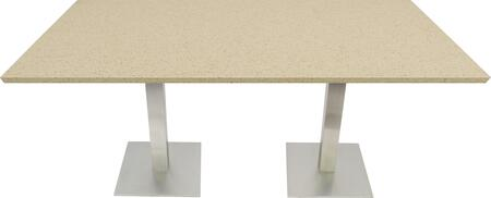 Q407 30X42-SS05-23D 30x42 Cambrian Gold Quartz Tabletop with 23 Square #304 Grade Stainless Steel Dining Height Table