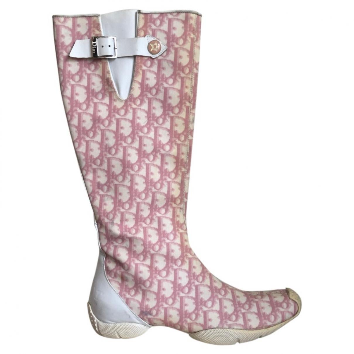 Dior \N Stiefel in  Rosa Leinen