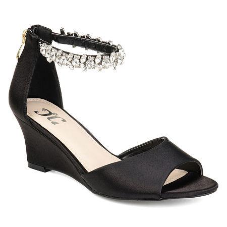 Journee Collection Womens Connor Pumps Zip Open Toe Wedge Heel, 7 1/2 Medium, Black
