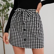 Buttoned Tie Front Houndstooth Skirt