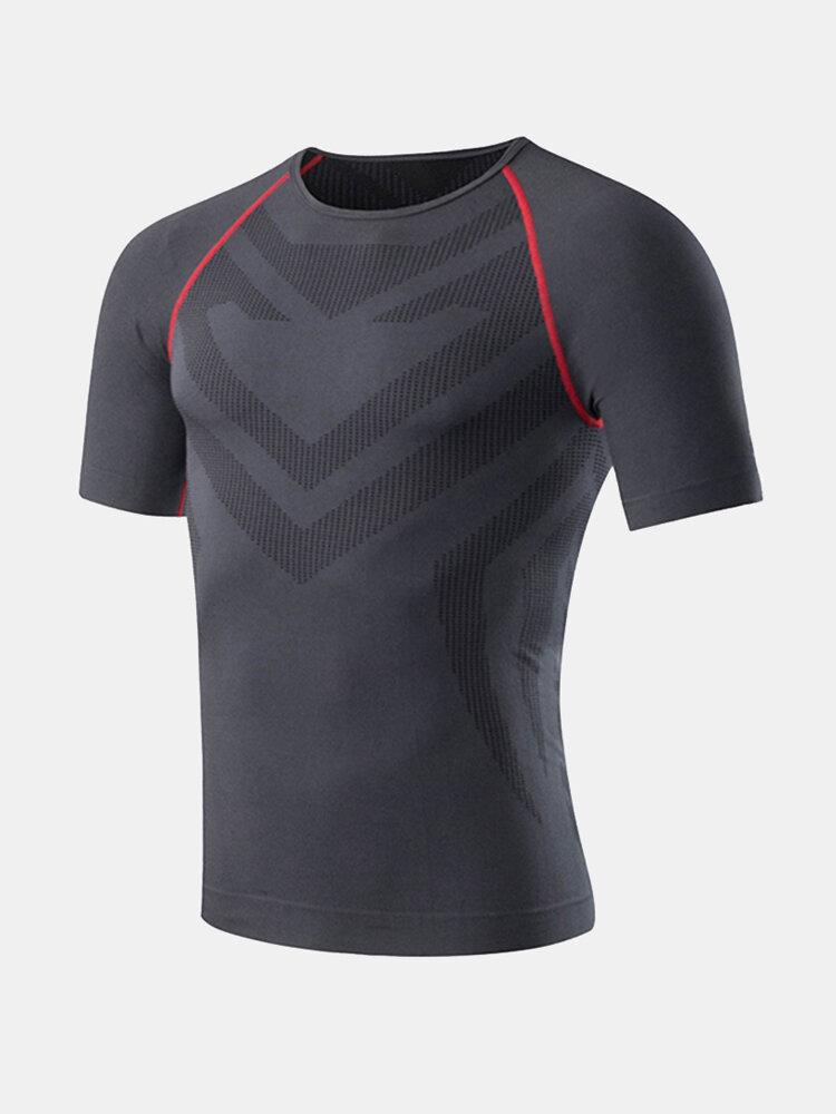 Mens Training Bodybuilding Tops Quick-drying Elastic Tight Short Sleeve Casual Sport T Shirts