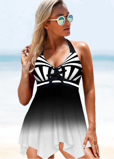 Black Halter Asymmetric Hem Swimdress and Panty - M