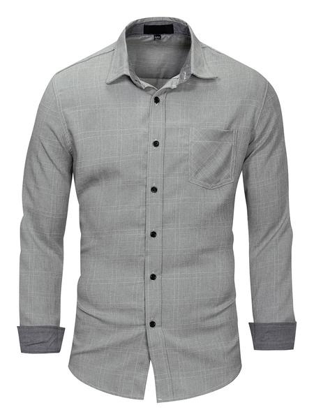 Milanoo Casual Shirt For Men Turndown Collar Casual Oversized Stripes Light Gray Shirts