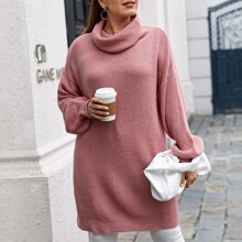 Plus Drop Shoulder Rib-knit Hem Sweater