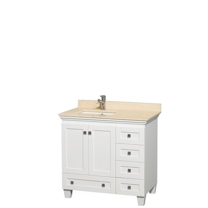 WCV800036SWHIVUNSMXX 36 in. Single Bathroom Vanity in White  Ivory Marble Countertop  Undermount Square Sink  and No