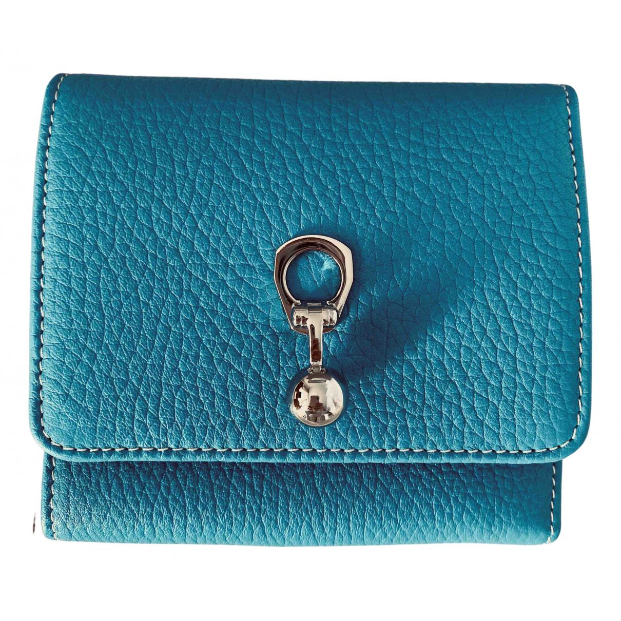 Ermanno Scervino - Portefeuille   pour femme en cuir - turquoise
