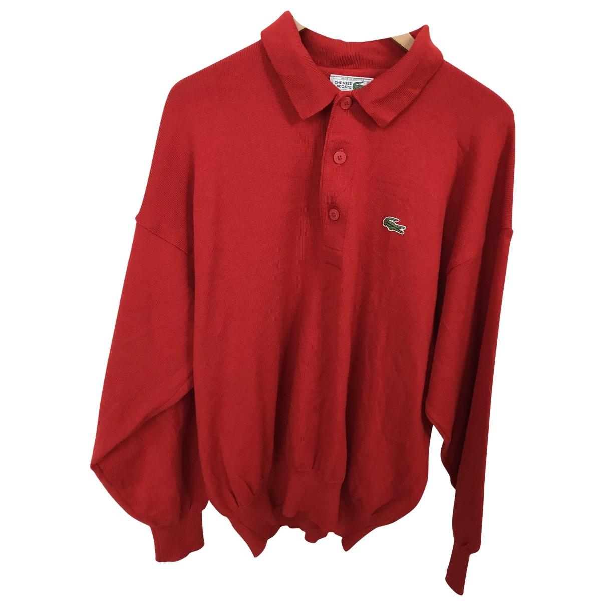 Lacoste - Top   pour femme en laine - rouge