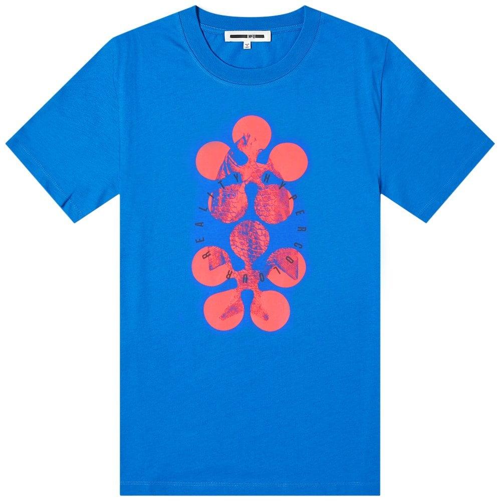 McQ Alexander McQueen Graphic Print T-Shirt Colour: BLUE, Size: MEDIUM