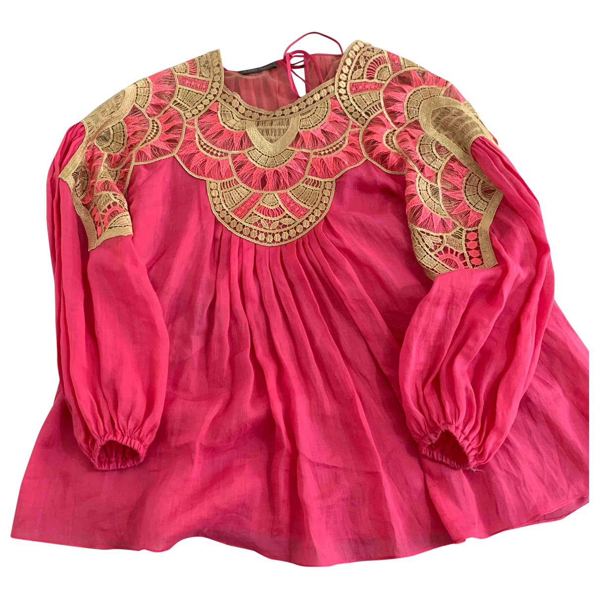 Alberta Ferretti - Robe   pour femme en lin - rose