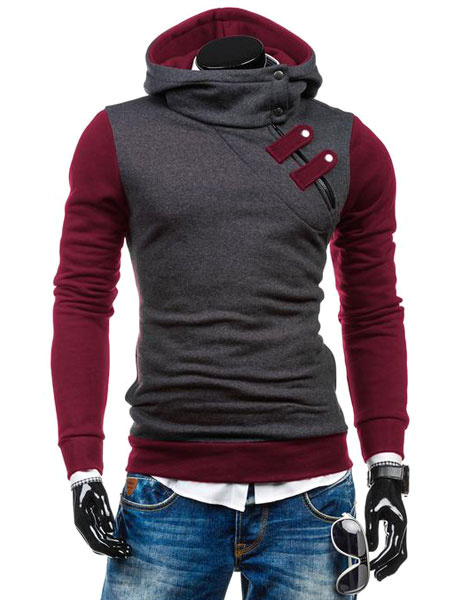 Milanoo Men's Pullover Hoodie Oblique Zipper Buckle Contrast Color Cotton Hoodie