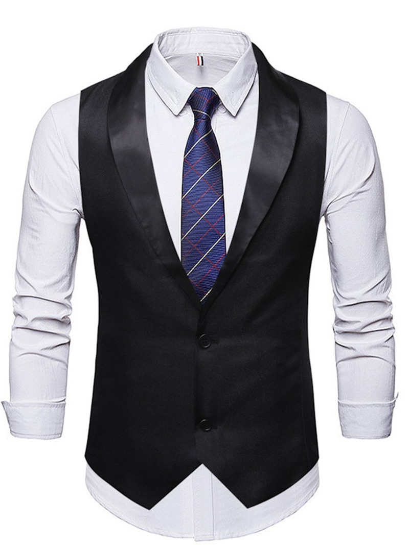 Ericdress Button Color Block Single-Breasted Casual Mens Waistcoat