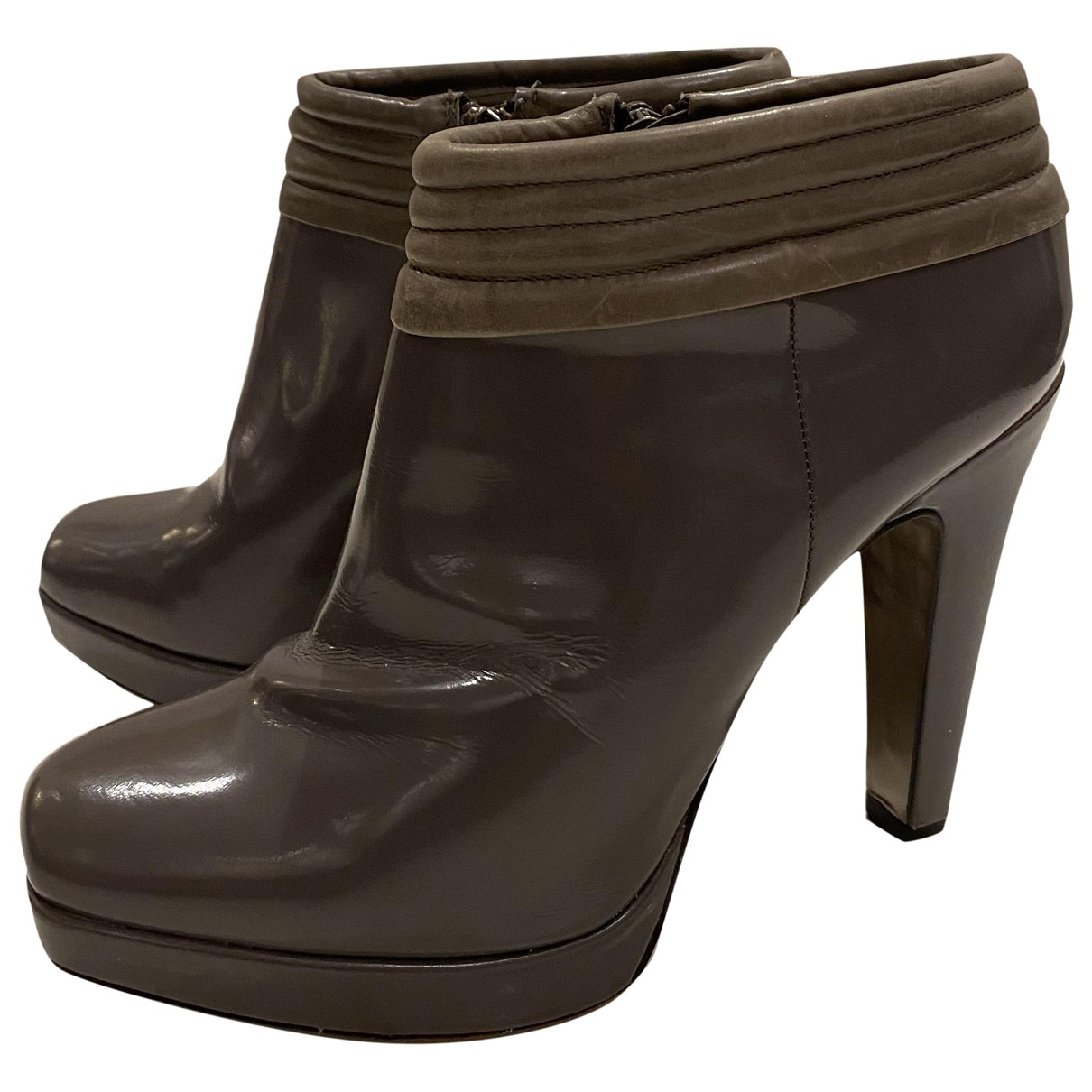 Boss N Grey Patent leather Ankle boots for Women 39 EU