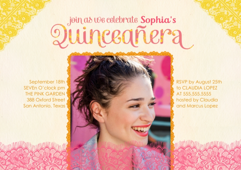Quinceanera 5x7 Cards, Premium Cardstock 120lb with Scalloped Corners, Card & Stationery -Lace Quinceanera