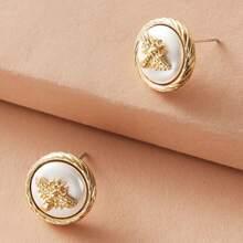 1pair Bee Decor Round Stud Earrings