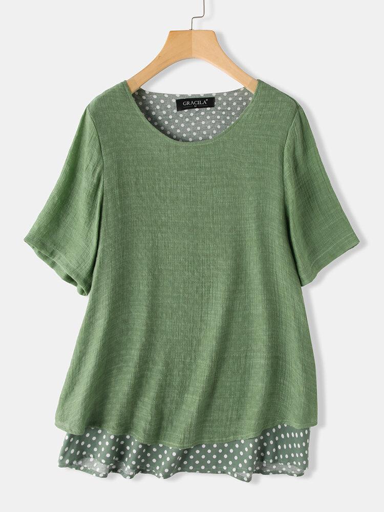 Layered Polka Dot Short Sleeve O-neck Blouse For Women