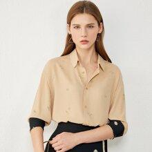 AMII Bluse mit sehr tief angesetzter Schulterpartie und Gaensebluemchen Muster