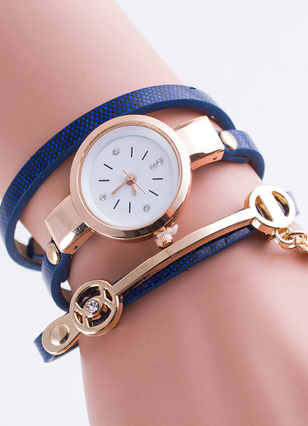 Milanoo Tiered Leather Watchband Metal Watch for Women