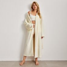 Drop Shoulder Self Tie Flannel Lounge Robe