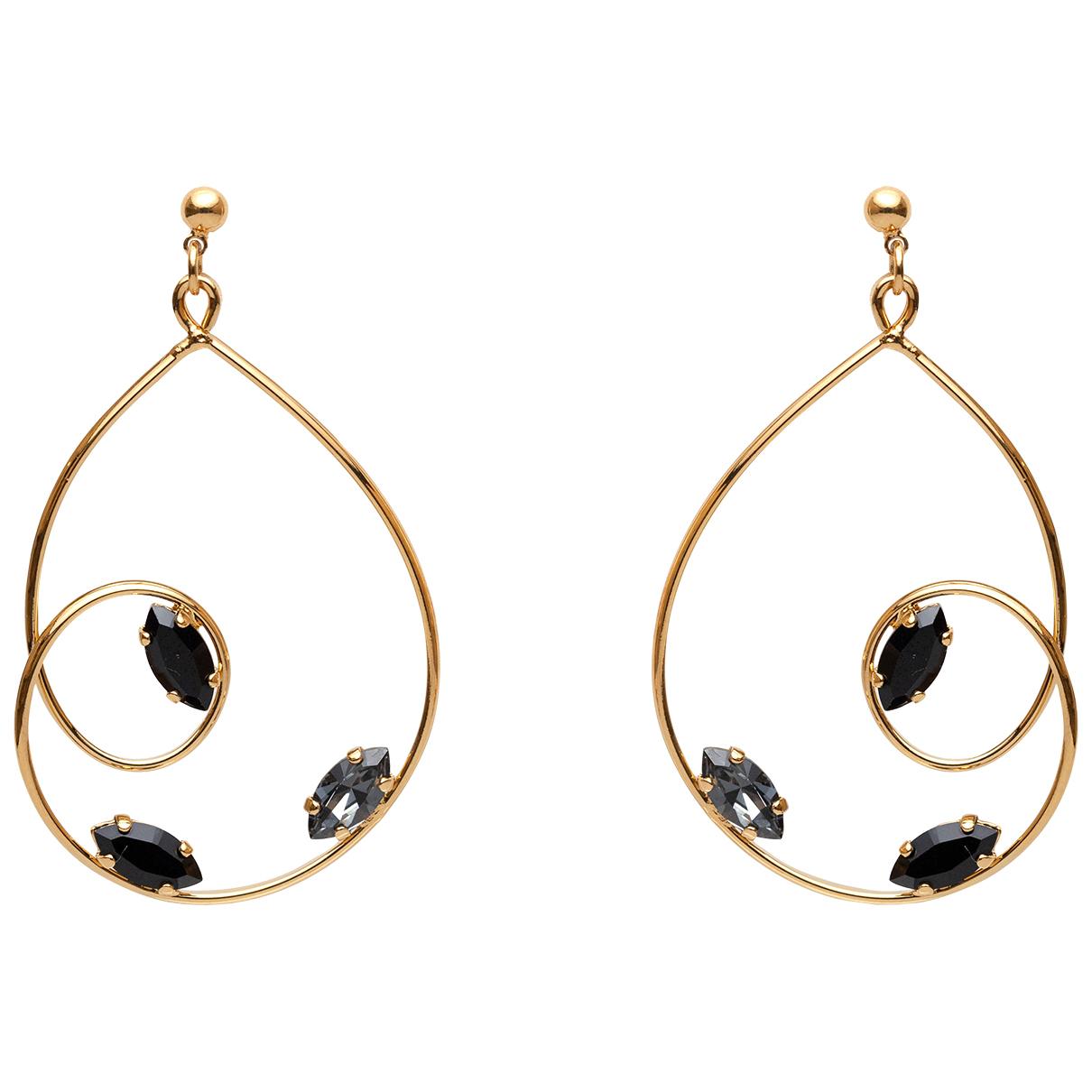 - Boucles doreilles   pour femme en plaque or - noir