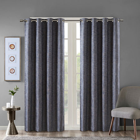 Sunsmart Arlie Energy Saving Blackout Grommet-Top Single Curtain Panel, One Size , Blue