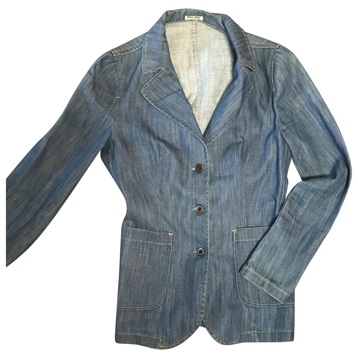 Miu Miu \N Blue Cotton jacket for Women 36 FR