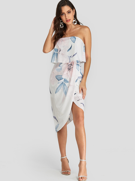 Yoins White Random Floral Print Strapless Crossed Front Vacation Dress