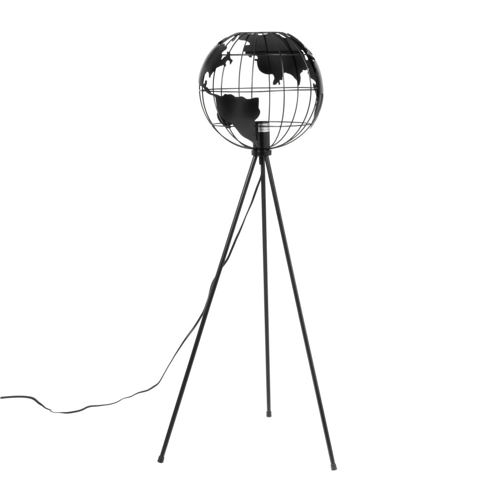 Dreifuss-Leselampe aus schwarzem Metall, Lampenschirm mit Weltkartenmotiv, H105