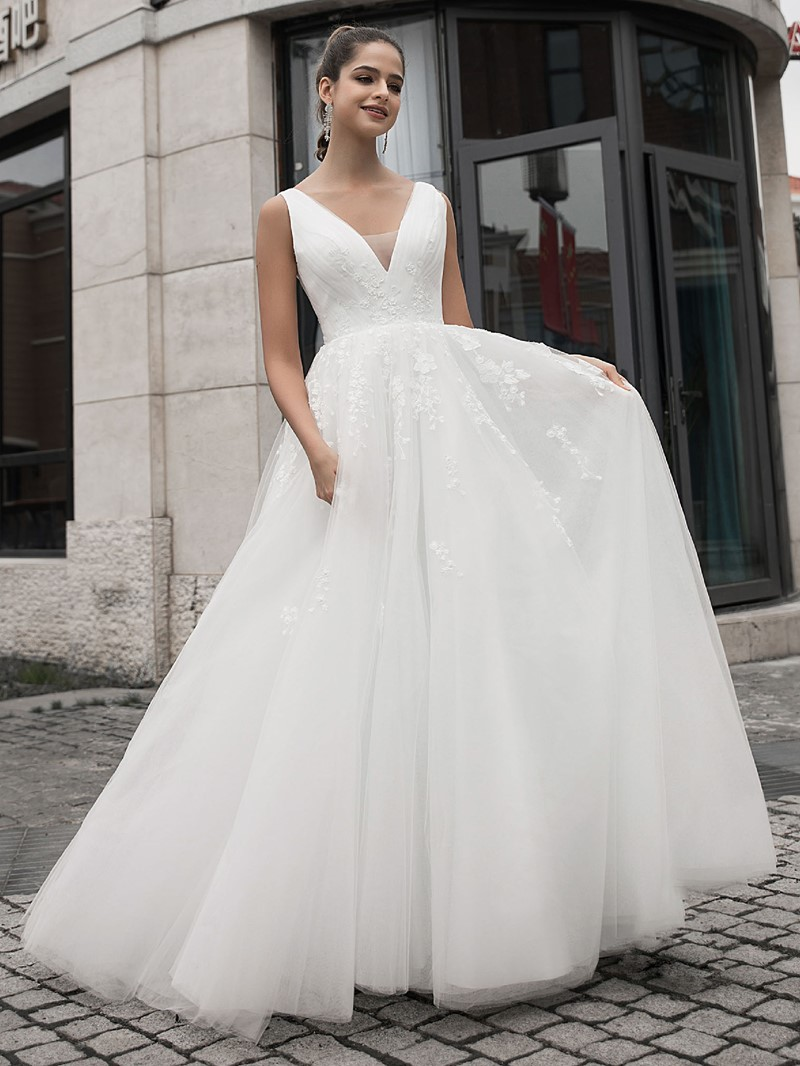 Ericdress Floor-Length Appliques A-Line Hall Wedding Dress 2020