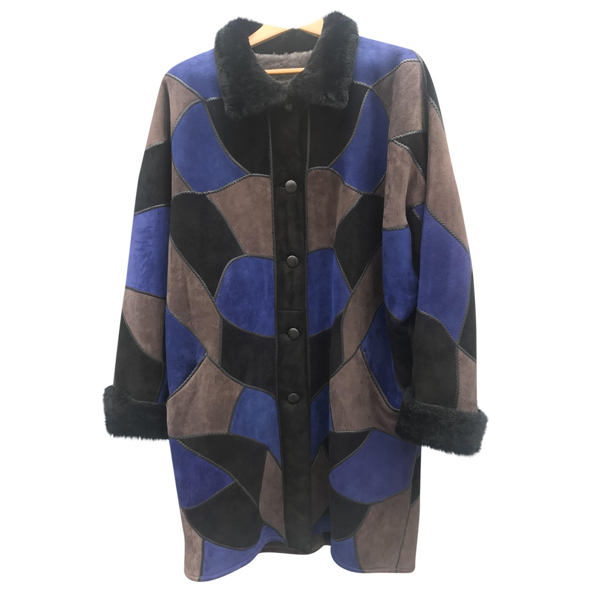 Non Signé / Unsigned \N Blue Shearling coat for Women 42 FR