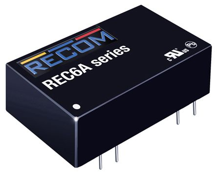 Recom REC6A 6W Isolated DC-DC Converter Through Hole, Voltage in 4.5 → 9 V dc, Voltage out 5V dc