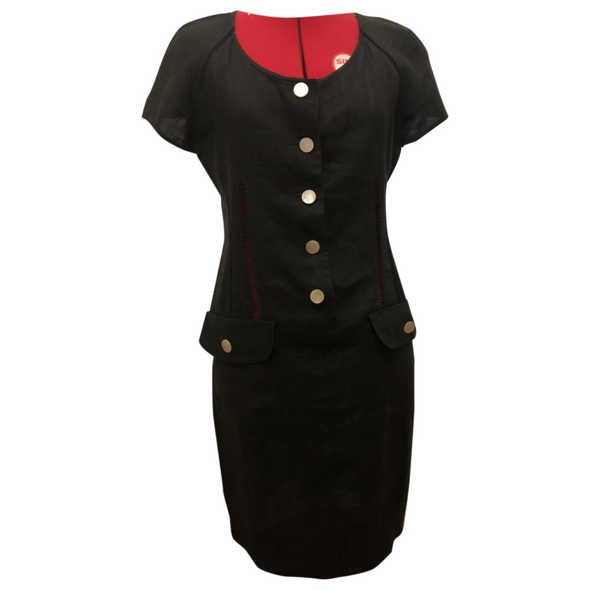 Valentino Garavani \N Black Linen dress for Women 42 IT