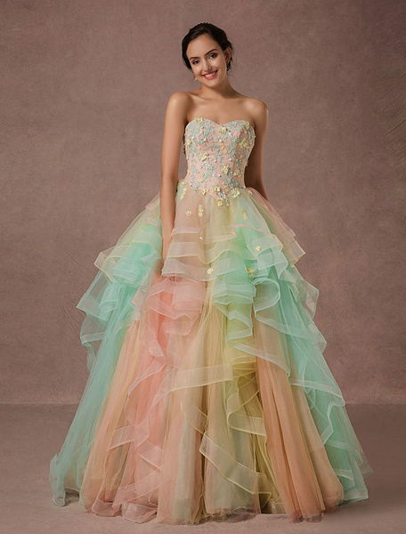 Milanoo Rainbow Quinceanera Dress Tulle Lace Pageant Dress Applique Beading A-line Luxury Princess Dress With Chapel Train