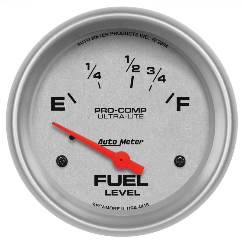 AutoMeter GAUGE; FUEL LEVEL; 2 5/8in.; 16OE TO 158OF; ELEC; ULTRA-LITE