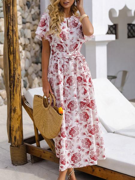 Milanoo Vestido largo de manga corta con estampado floral rosa Vestido largo de gasa con cuello joya Vestido de verano