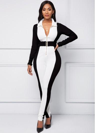 Long Sleeve Color Block Quarter Zip Jumpsuit - 2XL