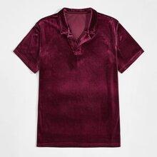 Camisa polo de cuello con solapa de terciopelo