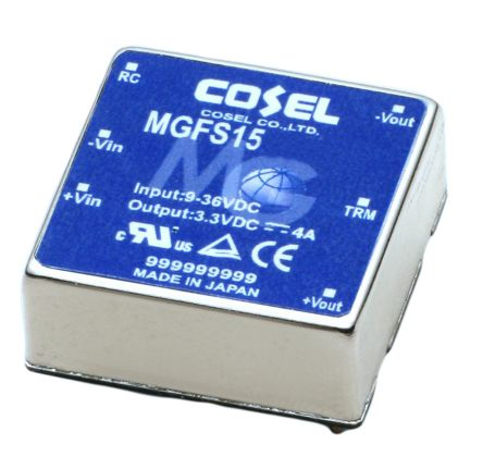 Cosel 15W Isolated DC-DC Converter Through Hole, Voltage in 18 → 76 V dc, Voltage out 15V dc