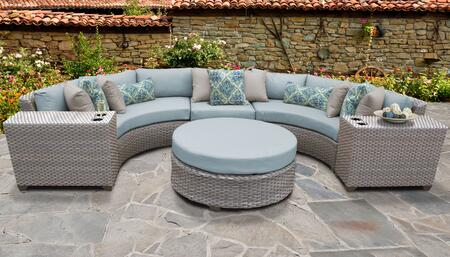 Florence Collection FLORENCE-06c-SPA 6-Piece Patio Set 06c with 1 Armless Chair   2 Cup Table   1 Round Coffee Table   2 Curved Armless Chair - Grey