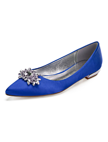 Milanoo Zapatos de novia de saten 2cm Zapatos de Fiesta Zapatos Azul marino oscuro Plana Zapatos de boda de puntera puntiaguada con pedreria