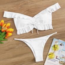 Drawstring Ruffle Tanga Bikini Swimsuit