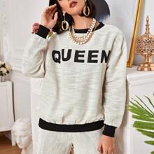 Drop Shoulder Letter Graphic Tweed Pullover